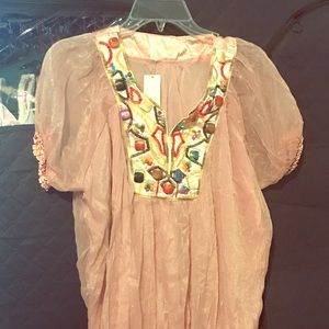Baby Pink short sleeve Blouse with embellishments